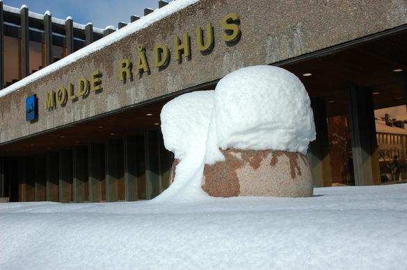 Snø på rådhusplassen