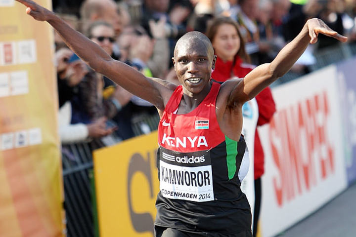 Geoffrey Kipsang Kamworor vinner VM i halvmaraton i København 2014. Foto: Kjell Vigestad