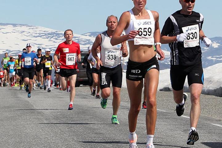 Valdresflya 2014: Marthe Katrine Myhre er raskt ute fra start. (Foto: Kjell Vigestad)