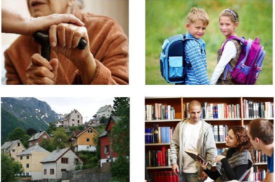 Illustrasjonsbilde - menneskehender, to barn, tre voksne, boliger