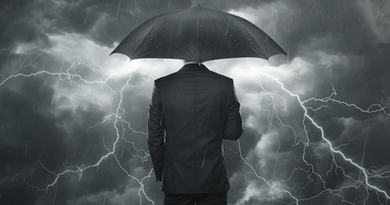 Trouble ahead concept, Businessman with umbrella standing in the