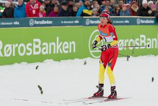 Heidi Weng, BUL vant årets NM sprint på ski etter å ha hatt best tid på prologen, vunnet kvartfinalen, semifinalen og finale. Foto: Fra Wengs NM gull på Skiathlon i 2014 på Røros. Foto: Erlling Pande Braathen