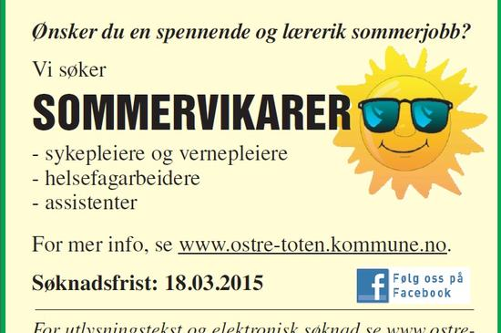 Annonse - sommervikarer 2015