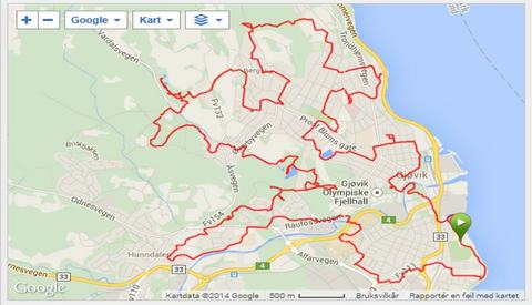 GPS-spor fra turen på kryss og tvers i Gjøvik på jakt etter 65 stolpeposter