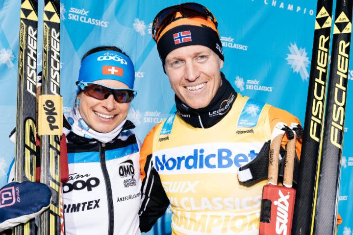 Seraina Boner og Petter Eliassen vinner årets Årefjällsloppet. Foto: Arrangøren