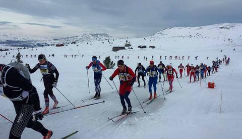 Feltet på 120 km strekte seg godt ut allerede før kryssing av Venabygsvegen etter 3 km. (Foto: Ringebu-Fåvang Skiklubb)