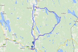 Kongsvingerrittet går rundt Skasen, via Kirkenær og vestsida av Glomma tilbake til festningsbyen
