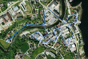 Løypekart for Ørasprinten. Runden er 2,5 km lang og løpes to ganger.