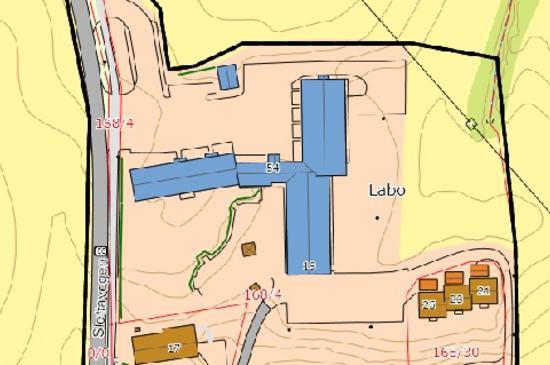Kartutsnitt over Labo-området
