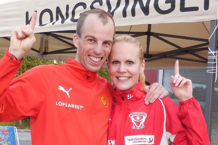 De to vinnerne av 5000-meteren i årets 4. karuselløp, Hallvard Nilsen, IL Gular, og Gunn Helen Hagen, Oppstad IL. (Foto: F. Nordal)