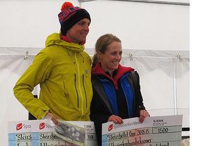 Thorbjørn Ludvigsen vant herreklassen i Sleirsfjellet Opp, mens vinner i dameklassen ble Sara Rebekka Færø Linde. (Begge foto: arrangøren)