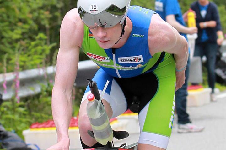 Nr. 4: Gudmund Snilstveit ble beste norske triatlet i Haugesund og var ikke langt fra en plass på pallen, som var hans store målsetting. Min beste konkurranse i Haugesund, sa Gudmund etter målgang! (Foto: Kjell Vigestad)