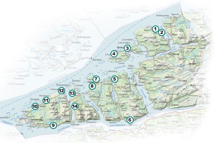 kart over aure Kart over de ulike tomteområdene som er presentert på nettsiden  kart over aure