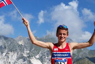 Junioreuropamester Stian Øvergaard Aarvik vant den første utgaven av Fanafjellet Opp. Bildet er fra jr-VM i 2014 hvor han ble nr. 5 (Foto: Torunn Aarvik)