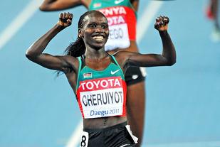 Kenyanske Vivian Cheruiyot var tilbake etter barnefødsel og sikra seg en ny VM-triumf på 10 000 m. (Arkivfoto: Mark Shearman)