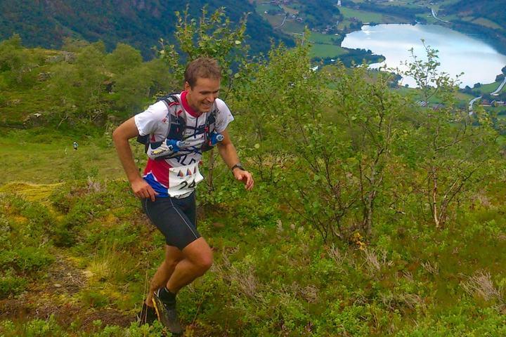 Fredrik Eliasson, Halden SK vant søndag herreklassen i Eggenipa Opp 1338 moh. Foto: Kjetil Magnar Guddal