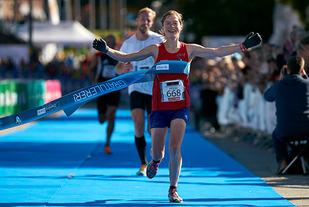 Hilde Aders vinner Oslo Maraton i 2015. Foto Stian S. Møller