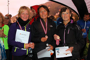 Sammenlagtvinnerne i klasse over 55 år: Elin Johanne Kaasa, Guri Kyte og Liv Astrid Losnegaard