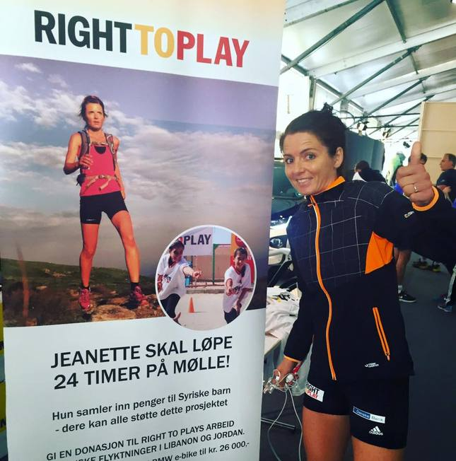 Fra Right To Plays stand i Oslo Maratons Expotelt (privat foto).