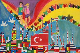 Barnetegninger: På startnummerutdelingen for Istanbul Marathon var det utstilt en imponerende samling av flotte bilder laget av barn i grunnskolen med motiver fra Istanbul Marathon. Vi falt for denne hvor brotårn, moskeer osv. var bygd opp av flagg, også det norske. Og med fredsduer og det internasjonale perspektivet i fokus.