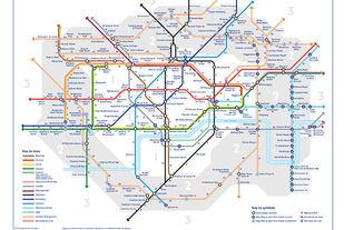 Transport of London lanserte nylig et oversiktskart for undergrunnsbanen hvor det også er markert inn den tidsmessige gangavstanden mellom de forskjellige stasjonene.