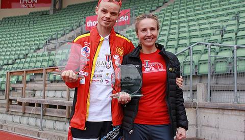 NM-vinnerne og totalvinnerne på Bislett 24-timers, Bjørn Tore Taranger og Therese Falk (foto: Kjell Vigestad).