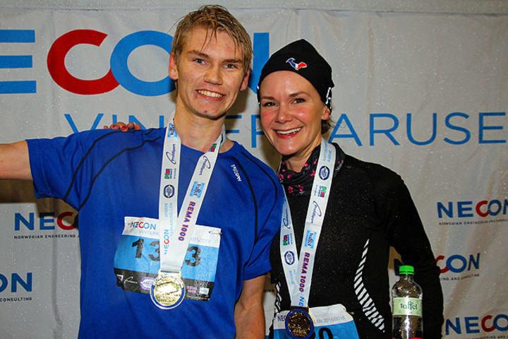 Olav Endre Østervold og Christine Revheim-Hansen var de raskeste i 5-km-løypen.