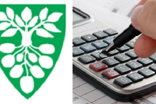Østre Toten kommunes kommunevåpen, kalkulator, kulepenn