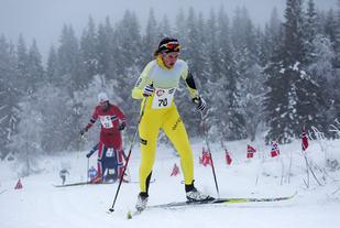 Maren Thomasgaard, Team Skigo var raskest av kvinnene i det fjerde OBIK-rennet  På bildet fra lørdagens  Trysil-Knut Renn, hvor hun ble nr.2  (Foto: Øivind Larsen)