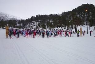 Fra starten på Skardilten 2015 der tilsammen 126 skiløpere stilte opp