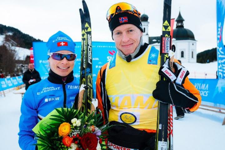 Petter Eliassen, Team Leaseplan Go og Seraina Boner, Team Exspirit vant. Foto: Arrangør