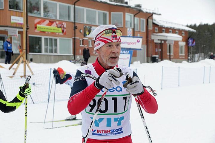 Finn Magnar Hagen etter å ha sikret seg sitt første gull i årets veteran-NM. (Arrangørfoto)