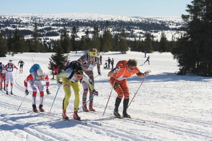 Vetle Thyli og Christoffer Callesen i front i halvvveis i HalvBirken  2015. (Foto: Kjell Arild Andersen)