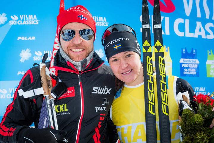 Britta Johansson Nordgren og Tord Asle Gjerdalen vant Ski Classics i Italia (arrangørfoto).