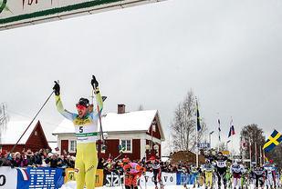 Johan Kristian Dahl vinner Vasaloppet i fjor.