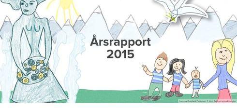 Forside til årsrapport 2015. Tegning av Leonora Øverland Pedersen, 2. trinn ved Sekken oppvekstsenter