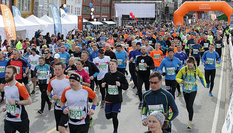 Stort startfelt: Halvmaraton har flest deltakere av fem løpstilbud i BCM med 5000 påmeldte og ca. 4300 startende. (Foto: Kjell Vigestad) .