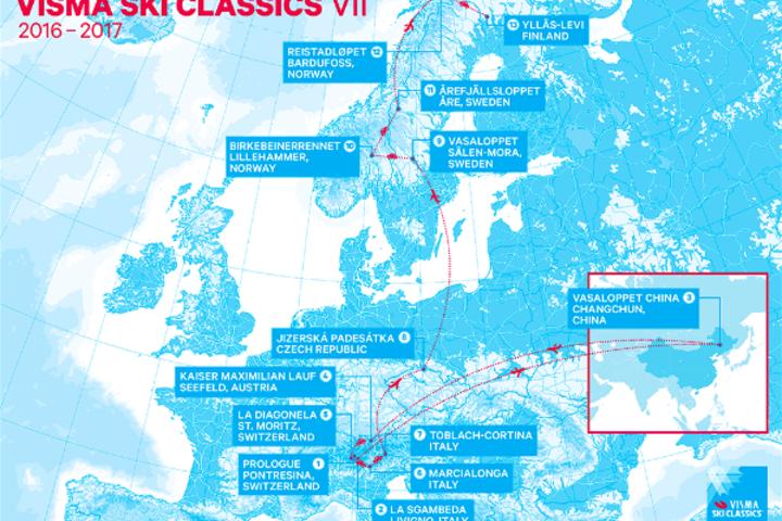 Slik ser kartet ut for arrangementsstedene under neste vinters Ski Classics som er den syvende utgaven.