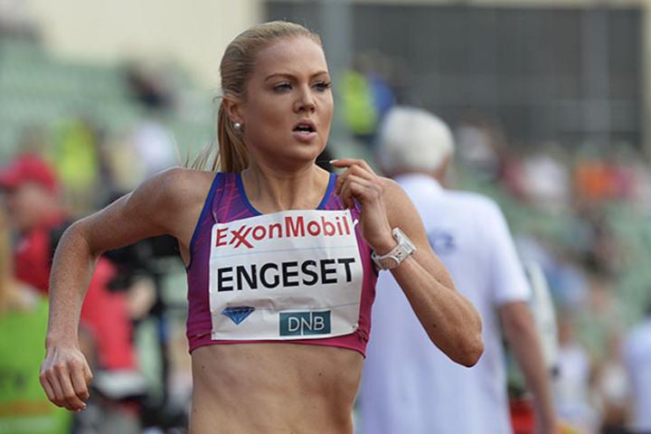 Kristine Eikrem Engeset sesongåpner på bane med å løpe 1500 m på Jessheim torsdag 2. juni. (Foto: Bjørn Johannessen)