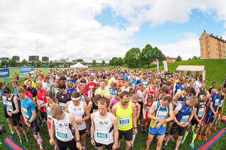 Det rekordstore startfeltet i årets Grefsenkollen Opp. Foto: Lars Eid  Nielsen, Arrangøren.