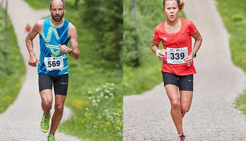 John Henry Strupstad, FIK Ren-Eng og Nicoline Baartvedt, IL Heming med seier i sikte i Nordmarka lørdag. (Foto: Stian Schløsser Møller)