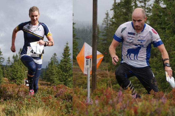 Vinner av Myrtrampen  søndag: Nicoline Ekeberg Schjerve og Marius Wikstrøm. (Foto: Stein Arne Negård)