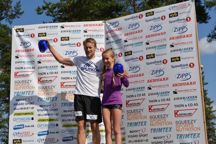 Totalvinnere av Koboltgruvene Opp anno 2015 - og 2016: Emma Kirkeberg Mørk og Per Kristian Nygård. Bildet er tatt etter fjorårets løp. (Arrangørfoto)