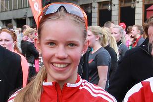 13 år gamle Pernille Karlsen Antonsen var først i mål av 2272 damer på 5 kilometeren i KK-mila. (Arkivfoto: Kjell Vigestad)