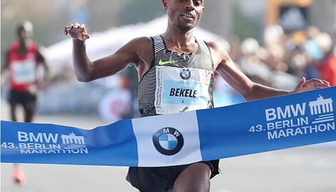 Vant tvekampen: Kenenisa Bekele vant en tøff og spennende dell med Wilson Kipsang og var bare seks sekunder etter verdensrekorden. (Foto: arrangøren)