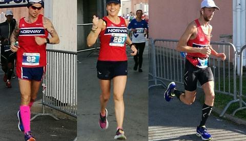 Taranger, Falk og Sørstad etter 8 timers løping. Halvveis (12 timer) ligger Tanager og Falk fortsatt i posisjon til å kunne kapre en historisk norsk medalje (foto: Stig Andy Kvalheim Rambø).