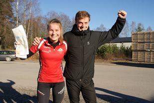 Vinnere av Huldertrampen: Annine Lome, Hamar OK og Sindre Rønning, Nydalen SK. (Foto: Stein Arne Negård)