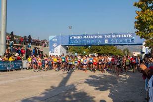 Fra starten av fjorårets Aten Marathon (Arrangørfoto).