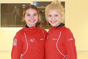 De norske juniordamene: To unge jenter med ambisjoner: tv. Stine Wangberg 17 år og Christine Næss, som har ei uke igjen før hun fyller 16 år. Hun er mesterskapets aller yngste av nesten 500 deltakere. (Foto: Kjell Vigestad)