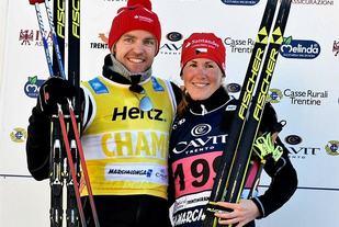 Kateřina Smutná og Tord Asle Gjerdalen tok seieren i den lange marsjen, bedre kjent som Marcialonga. Førstnevnte har tatt tre strake Visma Ski Classics-seire, mens sistnevnte står med  tre Marcialonga-seire på rad. (Arrangørfoto)